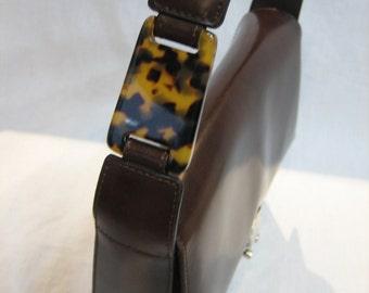 Vintage Gabriella Manzoni Brown Leather Handbag with Faux Tortoise Lucite Shoulder Strap Accent