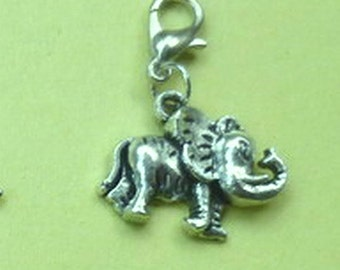 Dangle Silver Elephant for Bracelets, Floating Charm Pendants, Necklaces & Keychains  D031