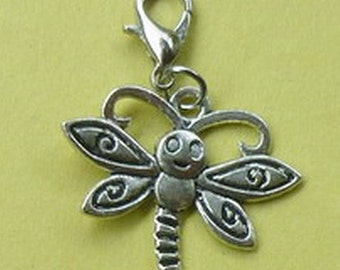 Dangle Silver Dragonfly #1 for Bracelets, Floating Charm Pendants, Necklaces & Keychains  D028