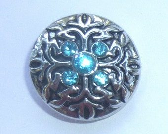1 PC Aqua Rhineston Flourish Flowers Antique Silver NOOSA Chunk Snap It Charm ~ Interchangable