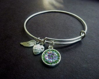 Very Popular Light Green and Purple Pave Crystal Adjustable Wire Bracelet w Angel & Heart Metal Charms