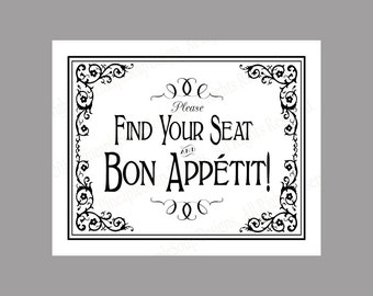 Find your seat, bon appetit vintage wedding signage - event sign - DIY instant download - Traditional Black Tie Collection