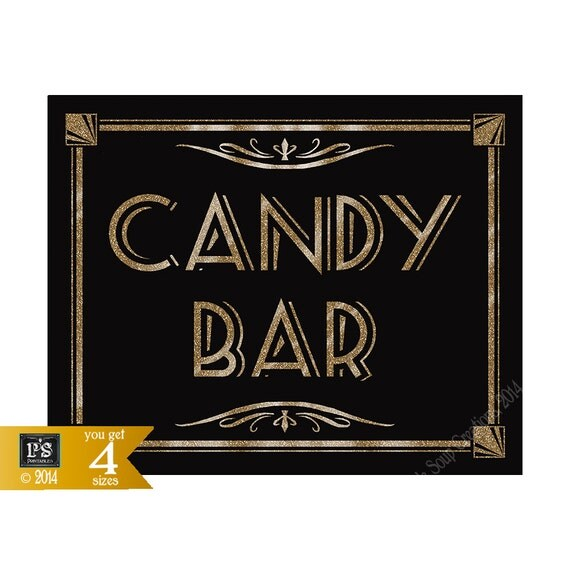 candy bar printable art deco roaring 20 39 s great gatsby sign instant download diy black. Black Bedroom Furniture Sets. Home Design Ideas