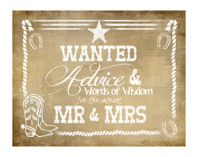 western Wedding ADVICE sign for the ALMOST Mr & Mrs - VINTAGE Style - diy Printable - instant download
