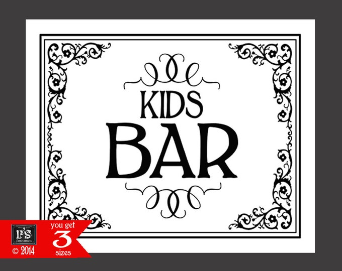 Printable KIDS BAR Sign - instant download digital file - DIY - Black Tie Collection