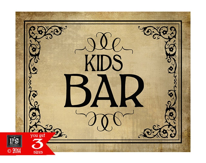 Printable KIDS BAR Sign - instant download digital file - DIY - Vintage Black Tie Collection
