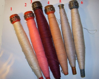 Industrial Wood bobbin or spool with original vintage yarn or thread. Great for craft projects,   display