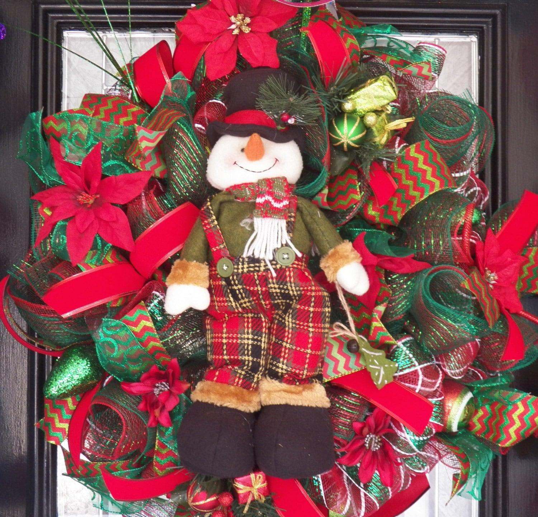 Christmas Wreath, Christmas Decoration, Holiday Wreaths, Snowman Decor, Fast Shipping