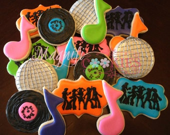 Disco Themed Birthday decorated Cookies