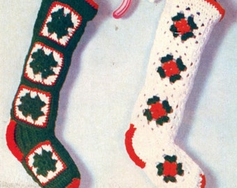 "INSTANT Download CROCHET Christmas STOCKINGS Pattern 18"" (45.5 cm) - Easy Vintage Instant Pdf Pattern - Kenyon Download Books 1057"