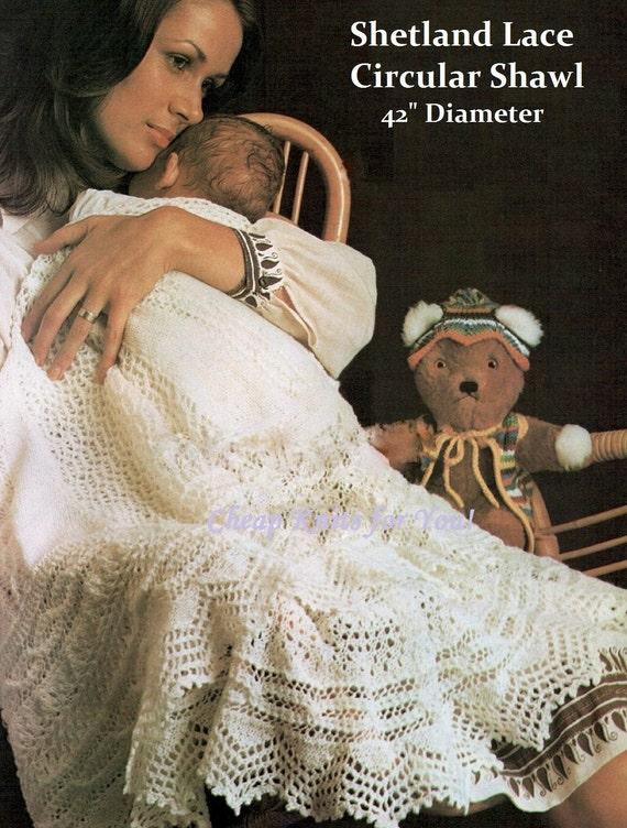 Free Baby Shawl Knitting Patterns Download : Baby Shetland 2 ply Lace Circular Shawl Vintage Knitting