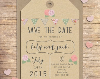 25 x Country Wedding Save the Dates, Wedding Stationery, Outdoor Wedding, Modern Wedding, Bunting, Floral, Rustic Save the Date