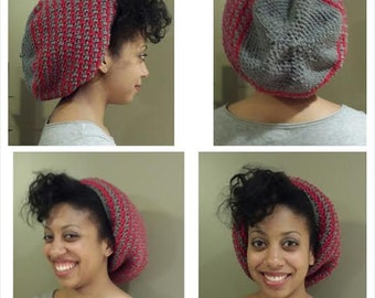 Satin-lined Two-Color Slouchy Beanie Hat for Natural hair styles