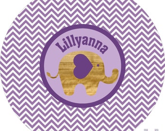 Personalized baby purple & white mod elephant dinner plate.  A FUN and UNIQUE gift idea! Kids love eating on personalized plates!