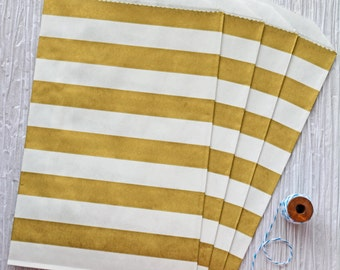 "Trendy gold horizontal stripes party favor paper bags 5 x 7.5"" - Set of 20"