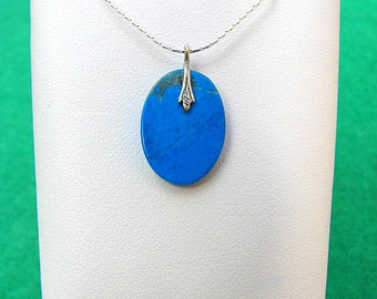 Sterling 925 Silver Necklace with Turquoise Gemstone Pendant