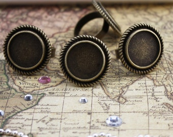 50 of Victorian Rings Setting, 16mm Circle, Adjustable, Antique Bronze