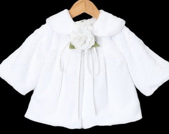 Girls White,  Fur Jacket, Ivory Fur Jacket, Flower Girl Bolero, Girls White, Ivory, Pink Fur Bolero, Special Occasion Jacket