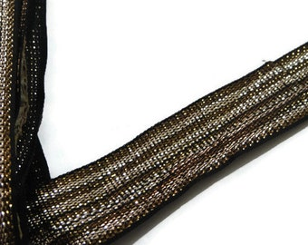 Copper & Gold:Dupatta Scarf Trim Indian lace Border, Decorating Supplies,Craft Supplies Price for 01 Yard SMP74