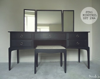 Up-cycled Stag Minstrel Dressing Table with adjustable Mirrors & Stool