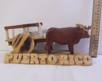 Ox puller carved wood