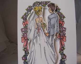 Wedding Card with Couple in front of Wedding Arch
