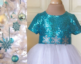 Turquoise Blue White Flower girl Dress Wedding Winter Bridesmaid Communion Christmas Sparkle Tulle Sequin Pageant Party Bridal White