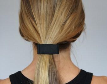Black Bow Grosgrain Ribbon Elastic Hair Tie, elastic hair tie, Bow Bracelet Black bow fold over elastic hair band grosgrain ribbon bow