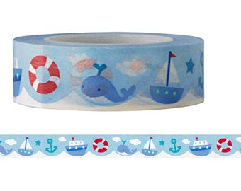 Whale and boat washi Tape  -Christmas Washi tape series--Deco tape-- 15mm x 15M