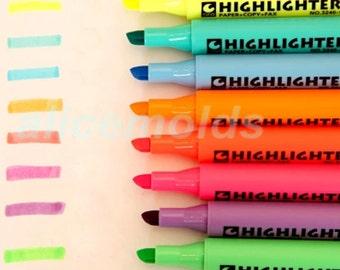 Set of 8 colors Fluorescent  highlighter marker pens, for Scrapbooking, Planner, Filofax