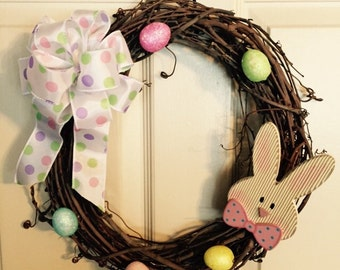 Easter Sale was 23.50 Now 18.00, Easter Bunny Wreath, Easter Wreath, Grapevine Wreath, Handmade Easter Wreath. Handmade Wreath