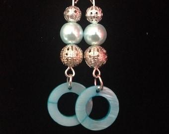 Green  hoop and bead dangle earrings