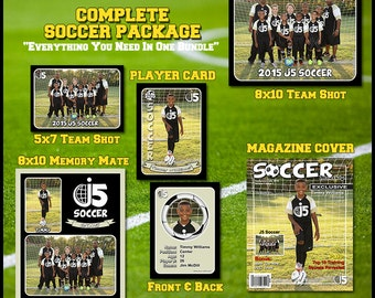 Complete Soccer Football Template Package -  Includes: Player Trading Card, Memory Mate, Magazine Cover, Group Shot  Photoshop Templates