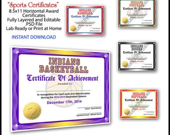 5 in 1 Sports Award Certificate Achievement Photoshop Template. 8.5x11 Standard Size. For Football, Baseball, Softball, Soccer & Basketball.