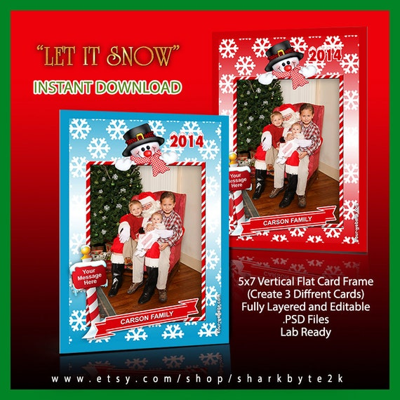 2017 5x7 Photoshop Christmas Frame Template with Snowman and