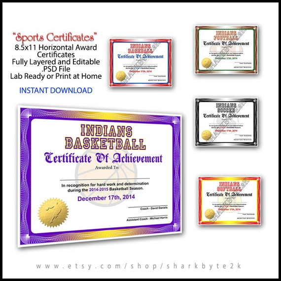 5 in 1 sports award certificate achievement photoshop 5 in 1 sports award certificate achievement photoshop template 85x11 standard size for football baseball softball soccer basketball pronofoot35fo Choice Image