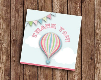 Hot Air Balloon Pink Thankyou Stickers