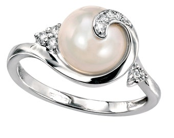 Pearl and Diamond Engagement Ring, White Gold Pearl Ring, Diamond Swirl Ring, Natural Pearl Engagement Anniversary Ring