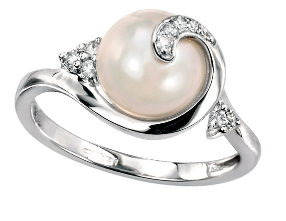 Items Similar To Pearl And Diamond Engagement Ring, White