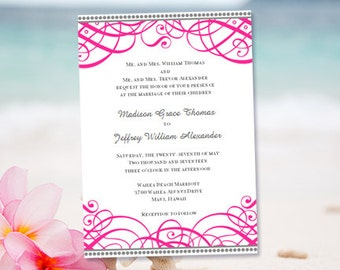 """Printable Wedding Invitation Template """"Calligraphic Swirls"""" Fuchsia Pink & Gray Word.doc Instant Download 