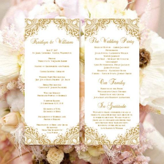 Wedding Ceremony Program Template Vintage Gold By