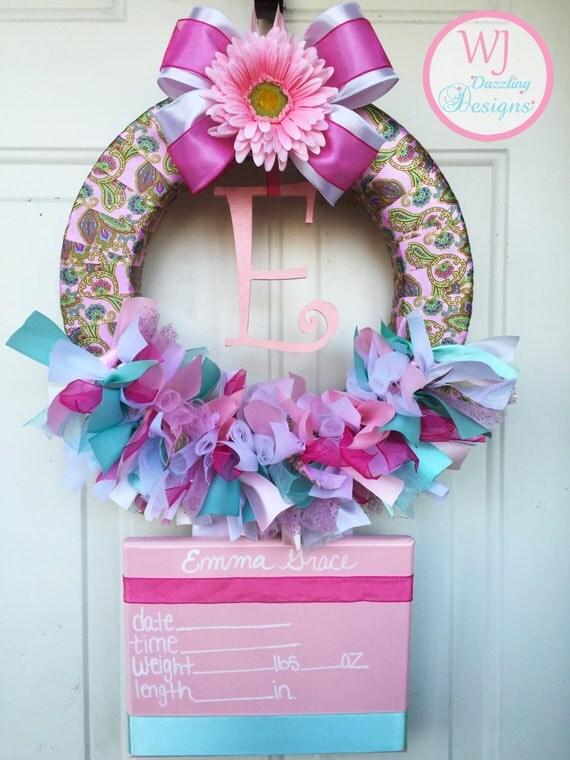 Baby girl wreath baby hospital door wreath by for Baby girl hospital door decoration