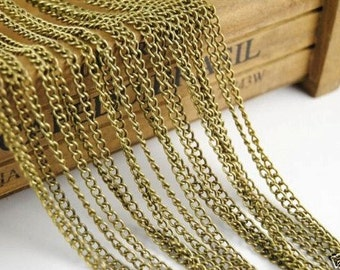 32ft (10m) 3x4mm Antique Bronze Twist Curb Chain Jewelry Links Chain Necklace R10