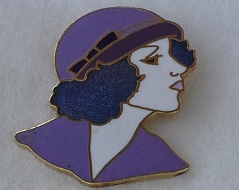 Vintage lady face brooch from 1950's with gold tone and enamel