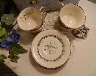 Set of 4 Vintage Syracuse China Coralbel Cup and Saucers