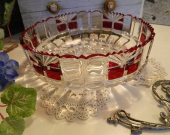 Antique Ruby Red Flash Glass Serving Bowl