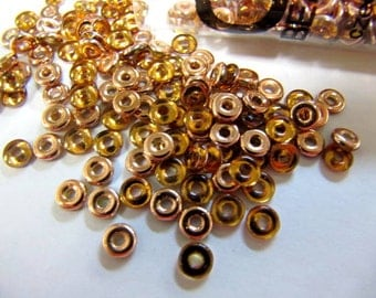 O Beads, Czech Glass, 8.1 Gram Tubes, Topaz Capri Gold, Unique Flattened Ring, Jewelry Making Beads, #OB410060-27101-TB