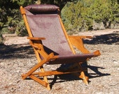 SALE: Reno Wells Prospector Handcrafted Wood Chair Reclining Outdoor All Weather Camping Folding Sling Deck Beach