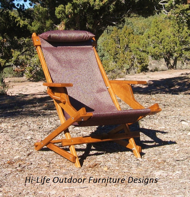 Set Of 2 Alder Wood Sling Chairs Eggplant Outdoor Fabric