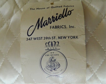 1950-60s Marriello Quilted Fabric by the yard / 44-45 inches wide